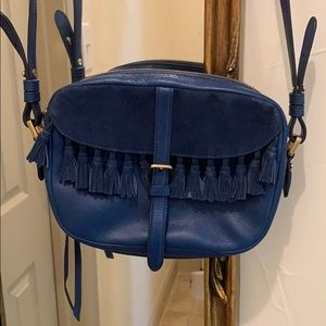 Fossil Blue Leather Suede Crossbody Bag